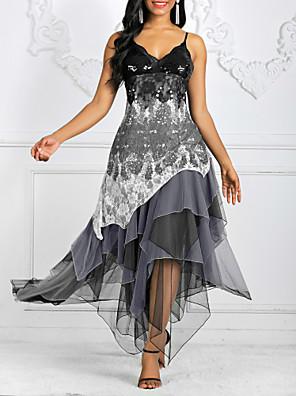 cheap Evening Dresses-Women's Asymmetrical Sheath Dress - Sleeveless Geometric Print Spring & Summer Strap Elegant Homecoming Cocktail Party 2020 Black Army Green S M L XL XXL XXXL XXXXL XXXXXL / Lace