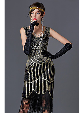 cheap Women's Coats & Trench Coats-Charleston Tassel Roaring 20s 1920s The Great Gatsby Flapper Dress Women's Sequin Costume Golden / Green / Black / Black+Sliver Vintage Cosplay Party Prom Sleeveless Knee Length