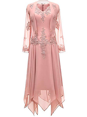cheap Special Occasion Dresses-Two Piece A-Line Mother of the Bride Dress Wrap Included V Neck Knee Length Chiffon 3/4 Length Sleeve with Pleats Appliques 2020