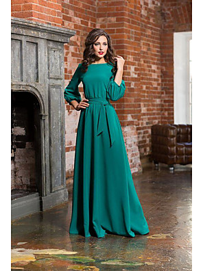 cheap Evening Dresses-A-Line Empire Turquoise / Teal Wedding Guest Formal Evening Dress Jewel Neck Long Sleeve Sweep / Brush Train Satin with Sash / Ribbon Bow(s) 2020