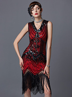 cheap Historical & Vintage Costumes-The Great Gatsby Charleston 1920s Roaring Twenties Roaring 20s Flapper Dress Party Costume Masquerade Cocktail Dress Women's Sequins Tassel Spandex Costume Red Vintage Cosplay Party Prom Sleeveless