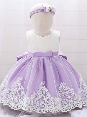 cheap Girls' Dresses-Baby Girls' Active / Basic Color Block Bow / Lace Trims Sleeveless Knee-length Dress Light Blue