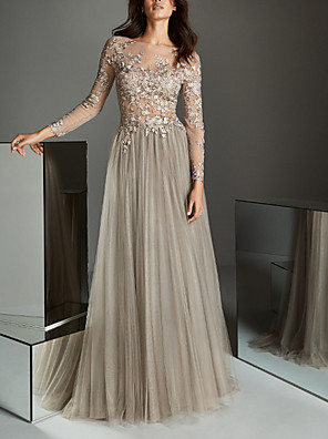 cheap Prom Dresses-A-Line Elegant Grey Wedding Guest Formal Evening Dress Illusion Neck Long Sleeve Sweep / Brush Train Lace Tulle with Pleats Appliques 2020