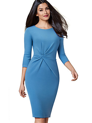 cheap Women's Dresses-Women's Bodycon Dress - 3/4 Length Sleeve Solid Colored Pleated Street chic Sophisticated Black Royal Blue Gray Light Blue S M L XL XXL / Cotton