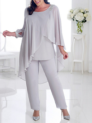 cheap Free Shipping-Two Piece Pantsuit / Jumpsuit Mother of the Bride Dress Elegant Plus Size Jewel Neck Ankle Length Chiffon Long Sleeve with Beading Ruffles 2020