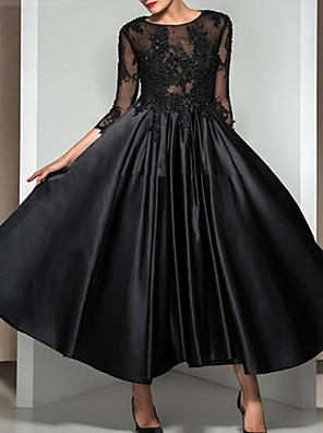 cheap Evening Dresses-A-Line Elegant Black Cocktail Party Formal Evening Dress Illusion Neck 3/4 Length Sleeve Ankle Length Lace Satin with Appliques 2020