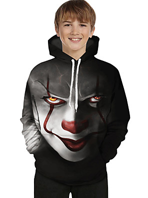 cheap Boys' Tops-Kids Toddler Boys' Active Basic Geometric Color Block 3D Print Long Sleeve Hoodie & Sweatshirt Black