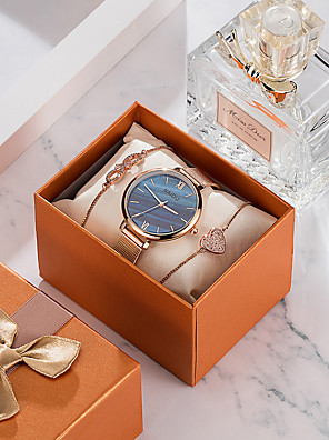 cheap Quartz Watches-Women's Quartz Watches Quartz New Arrival Cute Stainless Steel Rose Gold Analog - White+Pink White / Green Blue One Year Battery Life