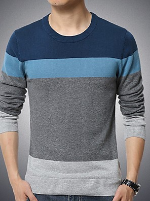 cheap Men's Sweaters & Cardigans-Men's Color Block Long Sleeve Pullover Sweater Jumper, Round Neck Black / Blue / Navy Blue US32 / UK32 / EU40 / US34 / UK34 / EU42 / US36 / UK36 / EU44