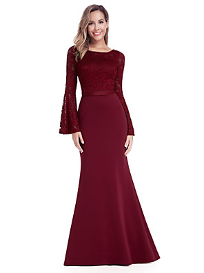 cheap Evening Dresses-Mermaid / Trumpet Minimalist Red Wedding Guest Formal Evening Dress Jewel Neck Long Sleeve Floor Length Chiffon Lace with Appliques 2020