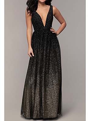 cheap Prom Dresses-A-Line Color Block Sparkle & Shine Formal Evening Dress Plunging Neck Sleeveless Floor Length Chiffon with Sequin 2020