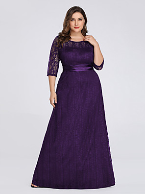 cheap Evening Dresses-A-Line Plus Size Purple Wedding Guest Formal Evening Dress Illusion Neck 3/4 Length Sleeve Floor Length Lace Spandex Polyester with Sash / Ribbon Lace Insert Appliques 2020 / Illusion Sleeve