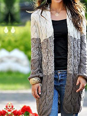 cheap More To Love-Women's Color Block Long Sleeve Cardigan Sweater Jumper, V Neck Cotton Light Brown / Purple / Beige S / M / L