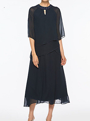 cheap Mother of the Bride Dresses-A-Line Mother of the Bride Dress Plus Size Jewel Neck Tea Length Chiffon Half Sleeve with Beading 2020
