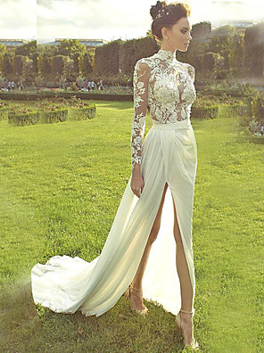 cheap Wedding Dresses-A-Line Wedding Dresses High Neck Court Train Lace Polyester Long Sleeve Country Illusion Sleeve with Lace Insert Appliques Split Front 2020