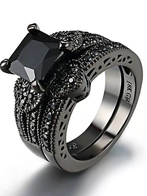 cheap Quartz Watches-Women's Ring 2pcs Black Imitation Diamond Alloy Square Cut Vintage Trendy Korean Daily Jewelry Vintage Style Lucky