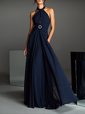 cheap Evening Dresses-A-Line Open Back Formal Evening Dress Halter Neck Sleeveless Sweep / Brush Train Chiffon with Sash / Ribbon 2020