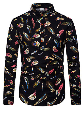 cheap Men's Shirts-Men's Daily Shirt Geometric Color Block Long Sleeve Tops Basic Black