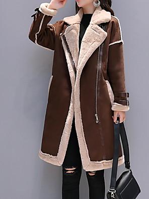 cheap Women's Blouses & Shirts-Women's Notch lapel collar Faux Fur Coat Long Color Block Daily Black / Camel / Gray S / M / L