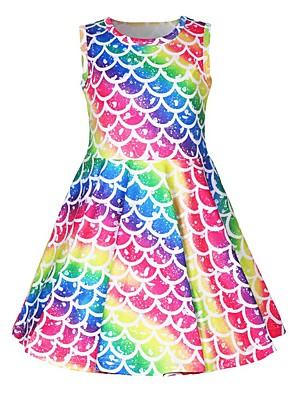 cheap Girls' Dresses-Kids Toddler Girls' Active Street chic Cartoon Sleeveless Above Knee Dress Rainbow