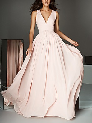cheap Evening Dresses-A-Line Empire Pink Engagement Formal Evening Dress V Neck Sleeveless Court Train Chiffon with Pleats 2020