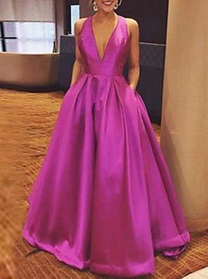 cheap Evening Dresses-A-Line Beautiful Back Formal Evening Dress Plunging Neck Sleeveless Floor Length Satin with Bow(s) Pleats 2020