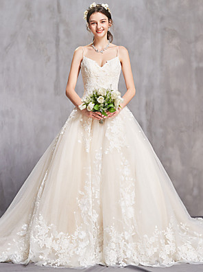 cheap Wedding Dresses-A-Line Sweetheart Neckline Cathedral Train Lace / Tulle Spaghetti Strap Sexy Wedding Dresses with Beading / Appliques 2020