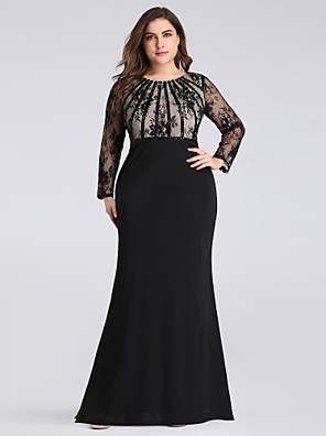 cheap Evening Dresses-Sheath / Column Elegant Plus Size Formal Evening Dress Jewel Neck Long Sleeve Floor Length Nylon Sequined Floral Lace with Sequin 2020 / Illusion Sleeve
