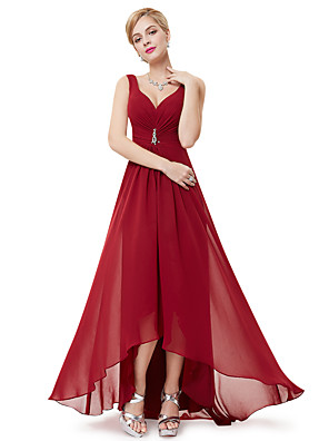 cheap Prom Dresses-A-Line Empire Red Holiday Wedding Guest Dress V Neck Sleeveless Asymmetrical Polyester with Crystals Draping 2020