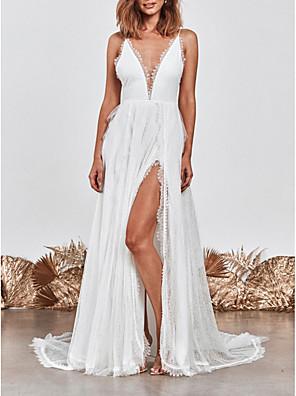 cheap Wedding Dresses-A-Line Wedding Dresses V Neck Sweep / Brush Train Lace Spaghetti Strap Simple Beach Boho Little White Dress Backless with Split Front 2020