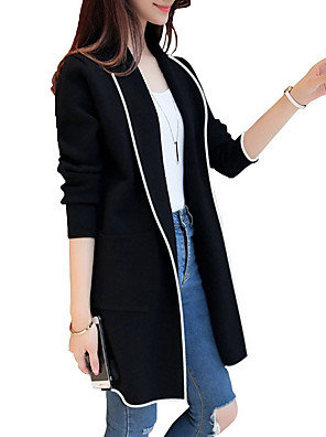 cheap Women's Coats & Trench Coats-Women's Daily Winter Long Coat, Color Block Rolled collar Long Sleeve Polyester Black / Red / Gray