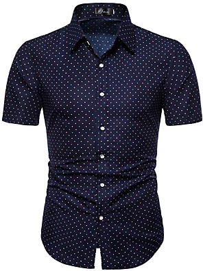 cheap Men's Shirts-Men's Geometric Print Shirt - Cotton Street chic Daily Navy Blue / Short Sleeve