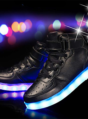 cheap Boys' Tops-Boys' Sneakers LED Shoes / USB Charging Cowhide / PU Little Kids(4-7ys) / Big Kids(7years +) LED / Luminous Silver / White / Black Spring / Rubber