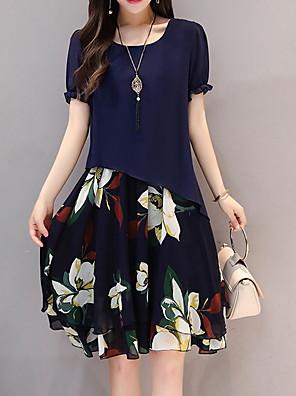 abordables Vestidos de Mujer-Mujer Tallas Grandes Azul Piscina Negro Vestido Gasa Floral M L