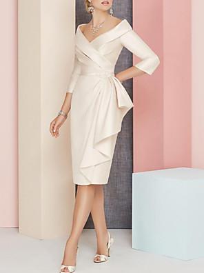 cheap Prom Dresses-Sheath / Column Mother of the Bride Dress Elegant Vintage Plus Size V Neck Knee Length Satin 3/4 Length Sleeve with Sash / Ribbon Ruching 2020