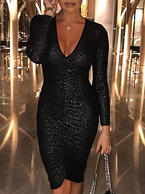 cheap Special Occasion Dresses-Women's Bodycon Dress - Long Sleeve Solid Colored Sequins Glitter Deep V Elegant Sexy Cocktail Party Going out Birthday Black S M L XL
