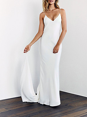 cheap Wedding Party Dresses-Sheath / Column Wedding Dresses V Neck Sweep / Brush Train Satin Spaghetti Strap Sexy Backless with 2020