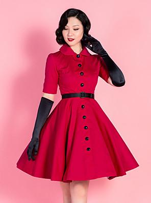 cheap Cocktail Dresses-Audrey Hepburn Retro Vintage 1950s Dress Masquerade Women's Cotton Costume Red Vintage Cosplay Party