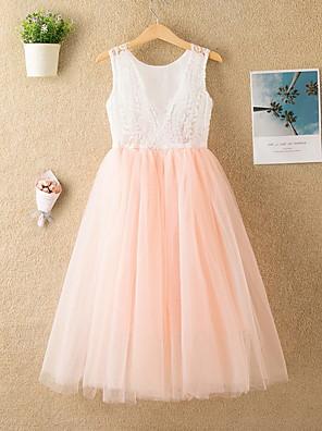 cheap Girls' Dresses-Kids Girls' Cute Solid Colored Mesh Sleeveless Midi Dress White