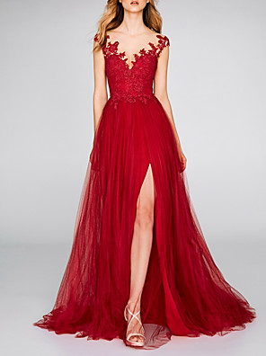 cheap Wedding Dresses-A-Line Sexy Red Engagement Formal Evening Dress V Neck Sleeveless Court Train Chiffon Lace with Split Appliques 2020