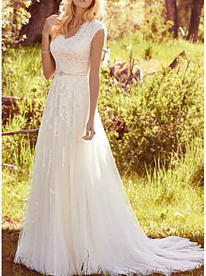 cheap Wedding Dresses-A-Line Wedding Dresses V Neck Sweep / Brush Train Lace Tulle Regular Straps Vintage Illusion Detail with Sashes / Ribbons Buttons 2020