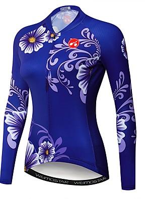 cheap Women's Cycling Jersey & Shorts / Pants Sets-21Grams Floral Botanical Women's Long Sleeve Cycling Jersey - Dark Blue Bike Jersey Top UV Resistant Quick Dry Moisture Wicking Sports Winter Elastane Terylene Polyester Taffeta Mountain Bike MTB