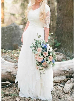cheap Wedding Dresses-A-Line Wedding Dresses V Neck Floor Length Lace Tulle Half Sleeve Country Illusion Sleeve with Lace Insert 2020