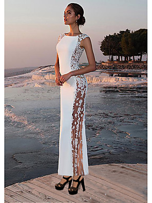 cheap Evening Dresses-Women's Maxi Sheath Dress - Sleeveless Solid Colored Lace Spring Summer Cocktail Party Prom Slim 2020 White S M L XL / Sexy