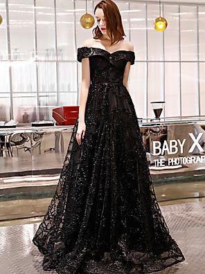 cheap Evening Dresses-A-Line Elegant Sparkle & Shine Formal Evening Black Tie Gala Dress Off Shoulder Short Sleeve Floor Length Lace with 2020