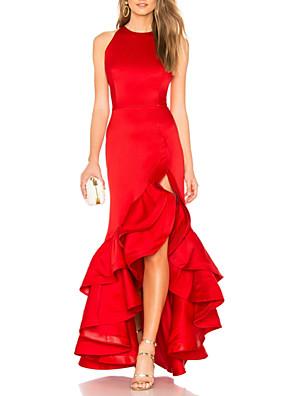 cheap Prom Dresses-Mermaid / Trumpet Sexy Red Wedding Guest Formal Evening Dress Jewel Neck Sleeveless Asymmetrical Satin with Ruffles Tier 2020