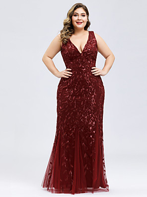 cheap Evening Dresses-Mermaid / Trumpet Plus Size Red Engagement Prom Dress V Neck Sleeveless Floor Length Lace Tulle with Appliques 2020