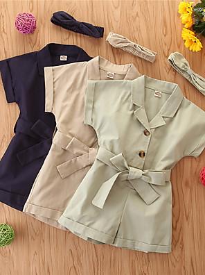billige Bukser og leggings til piger-Børn Pige Basale Ensfarvet Overall og jumpsuit Kakifarvet
