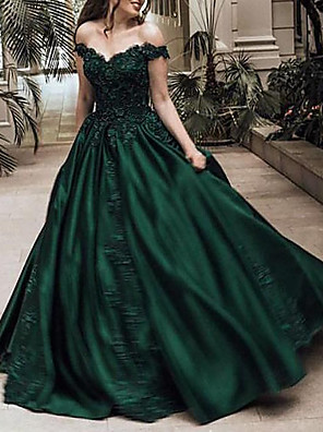 cheap Evening Dresses-Ball Gown Sparkle Green Quinceanera Prom Dress Off Shoulder Short Sleeve Sweep / Brush Train Lace Satin with Crystals Appliques 2020