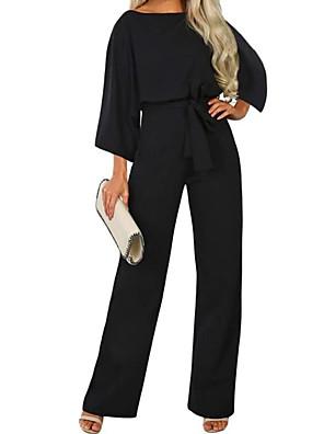 povoljno Ženski jednodijelni kostimi-Žene Ulični šik Crn Navy Plava Bež Širok kroj Jumpsuits Onesie, Jednobojni Vezica S M L
